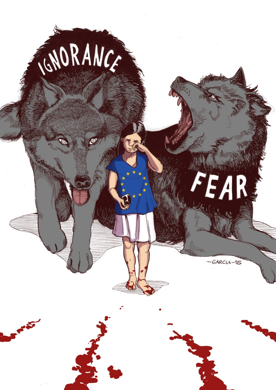 daniel-garcia-illustration-ignorance-fear-paris-syria-plaestine-africa-terrorrism-bombings-innocents